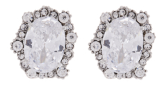 Clip On Earrings - Adina - silver earring with clear crystals and stone