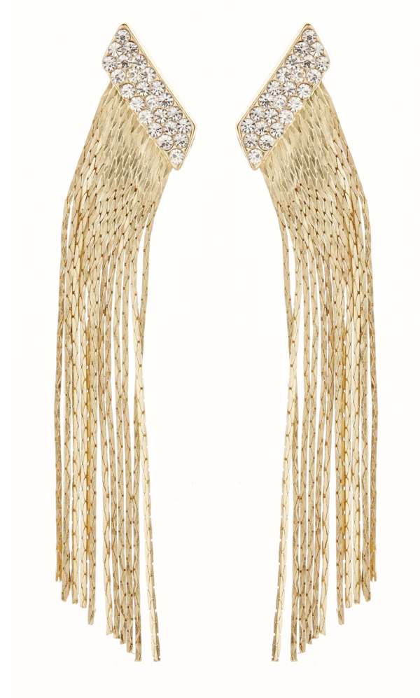 Clip On Earrings - Cal G - gold earring with clear crystals and linked strands