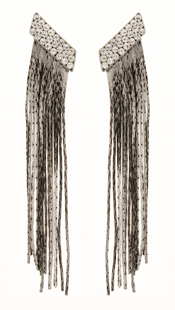 Clip On Earrings - Cal GM - gunmetal grey earring with clear crystals and linked strands