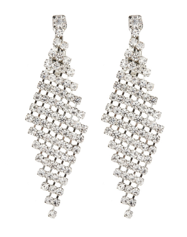 Clip On Earrings - Cami - silver earring with clear crystals