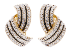 Clip on earrings - Camila - gold earring with clear crystals and black enamel