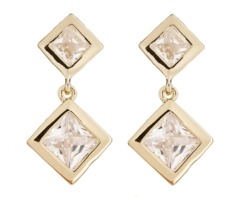 Clip On Earrings - Cara G - gold earring with two clear stones