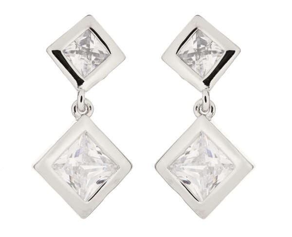 Clip On Earrings - Cara S - silver earring with two clear stones