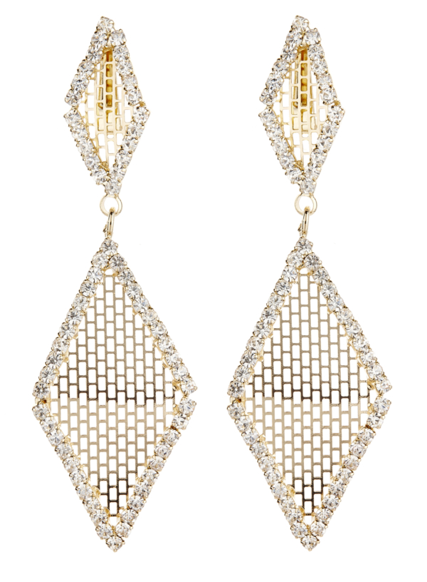 Clip On Earrings - Caris G - gold drop earring with clear crystals