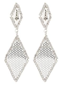 Clip On Earrings - Caris S - silver drop earring with clear crystals