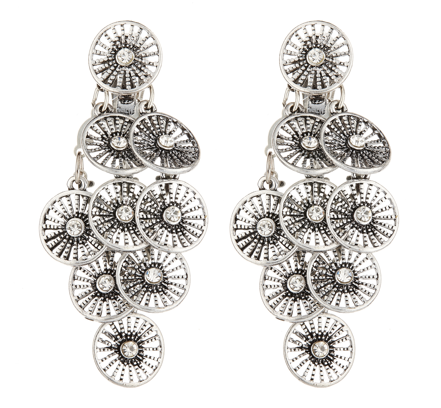 Clip On Earrings - Carissa - antique silver earring with clear crystals