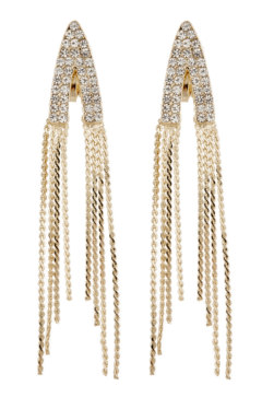 Clip On Earrings - Carla G - gold earring with clear crystals and linked strands