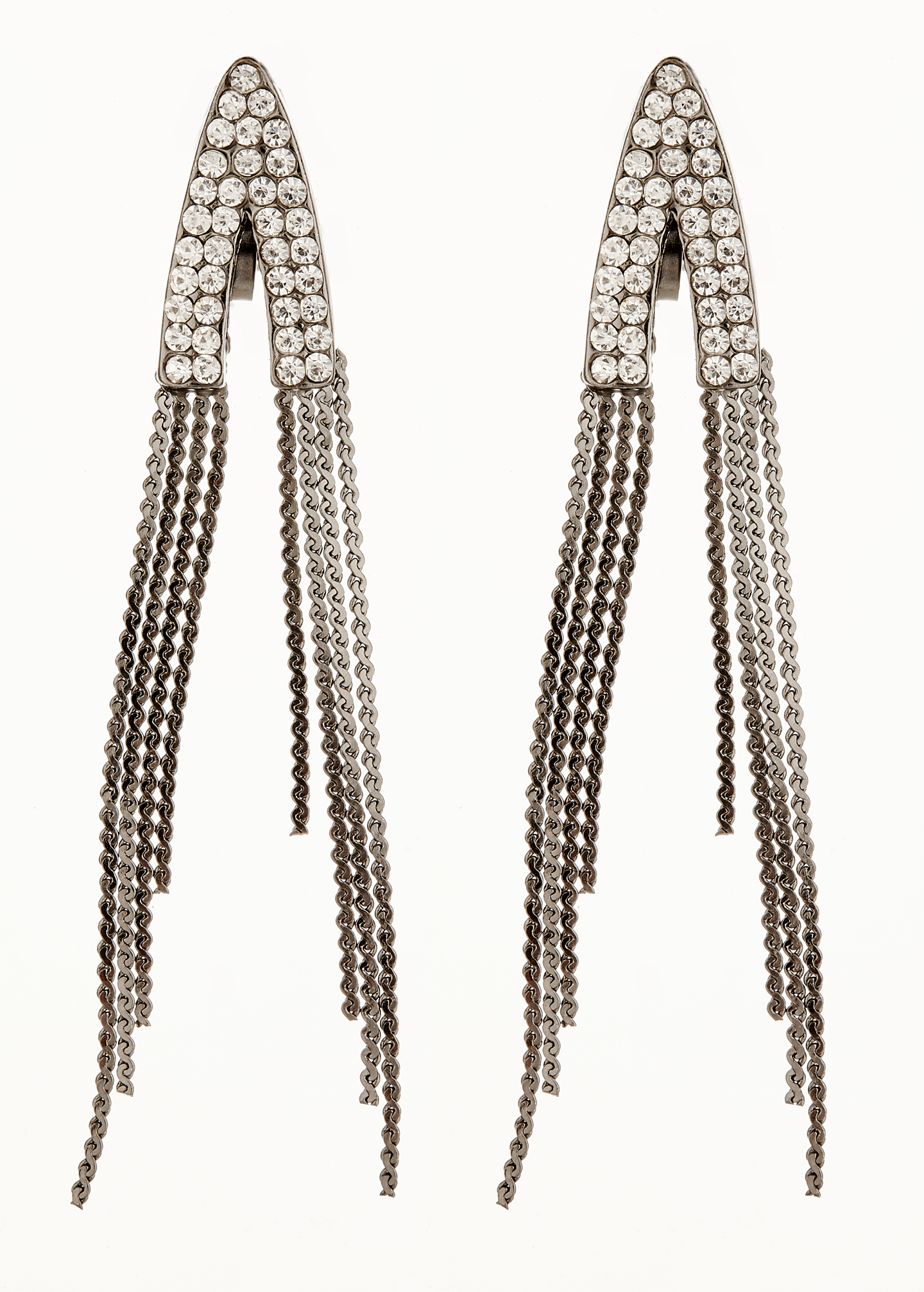 Clip On Earrings - Carla GM - gunmetal grey earring with clear crystals and linked strands