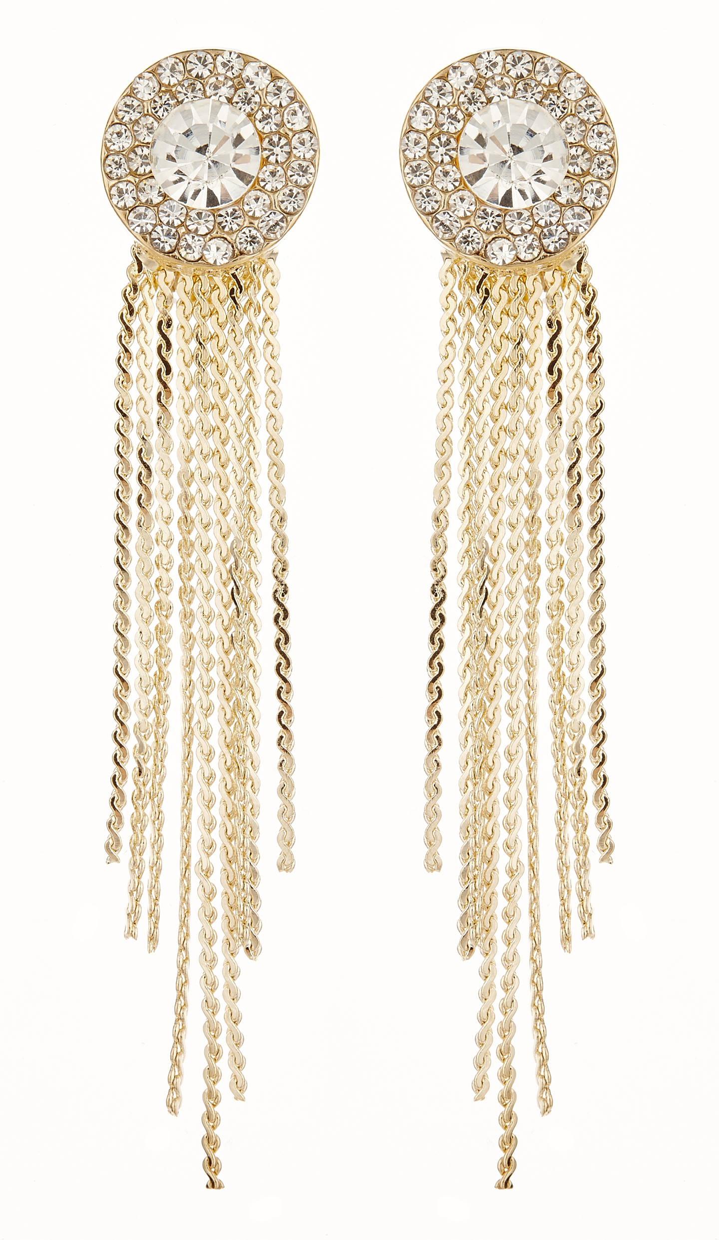 Clip On Earrings - Carol G - gold earing with clear crystals and linked strands