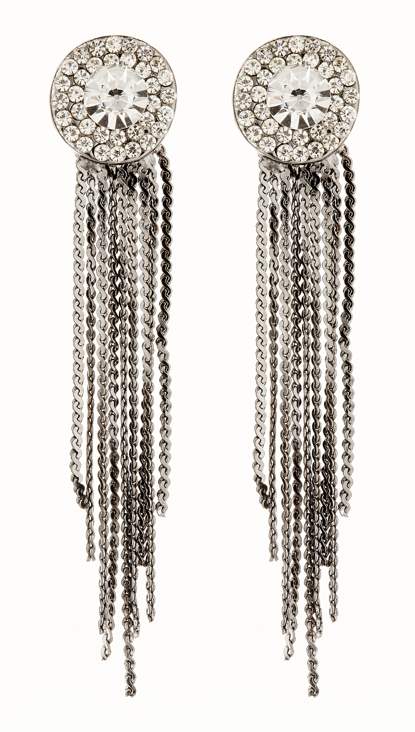 Clip On Earrings - Carol GM - gunmetal grey earring with clear crystals and linked strands