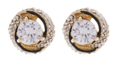Clip On Earrings - Cassie - gold earring with a clear stone and crystals