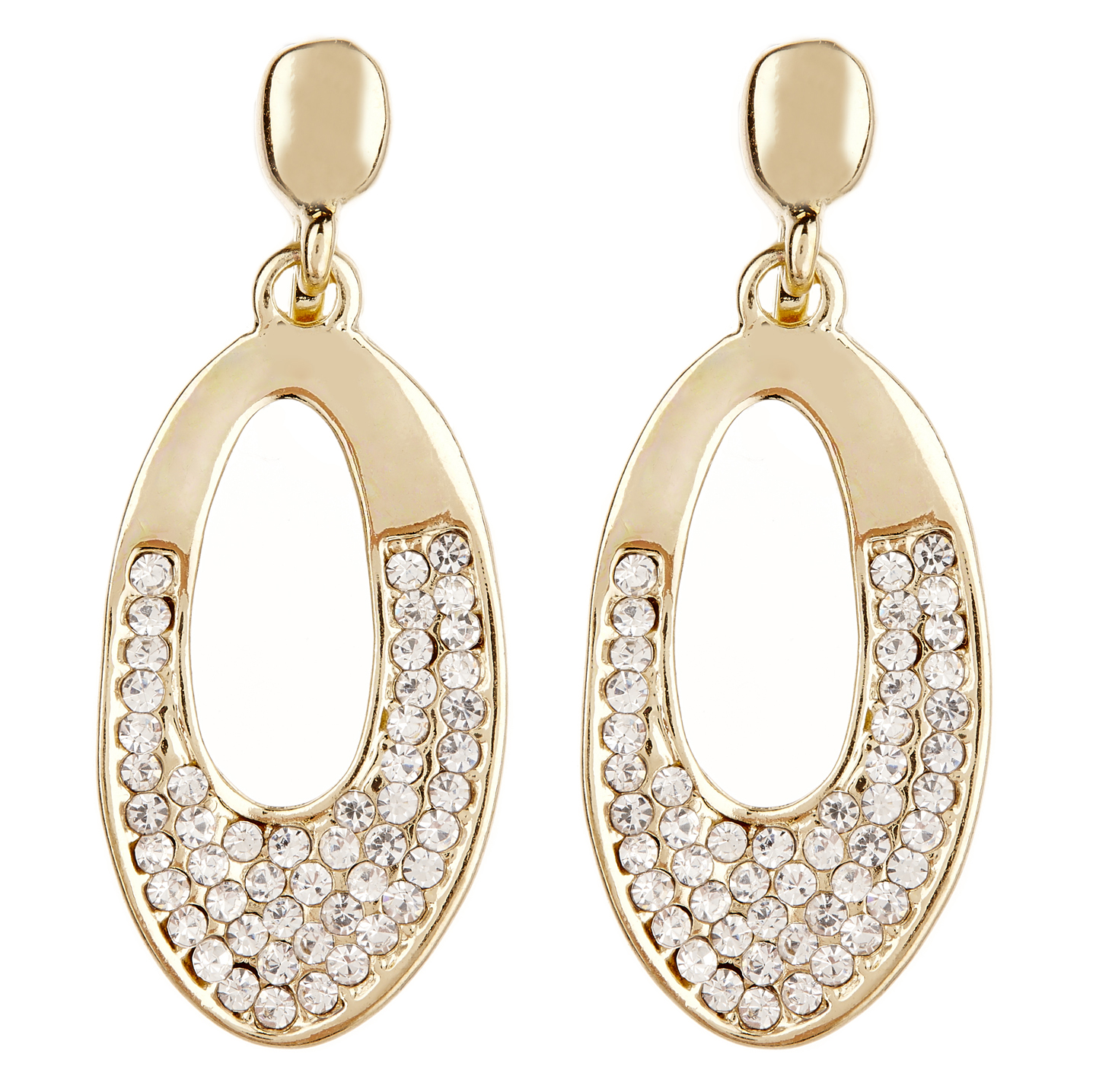 Clip On Earrings - Cathy G - gold earring with clear crystals