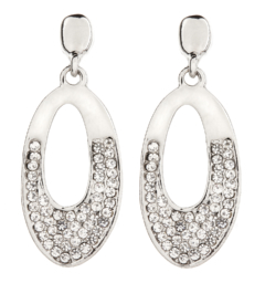 Clip On Earrings - Cathy S - silver earring with clear crystals