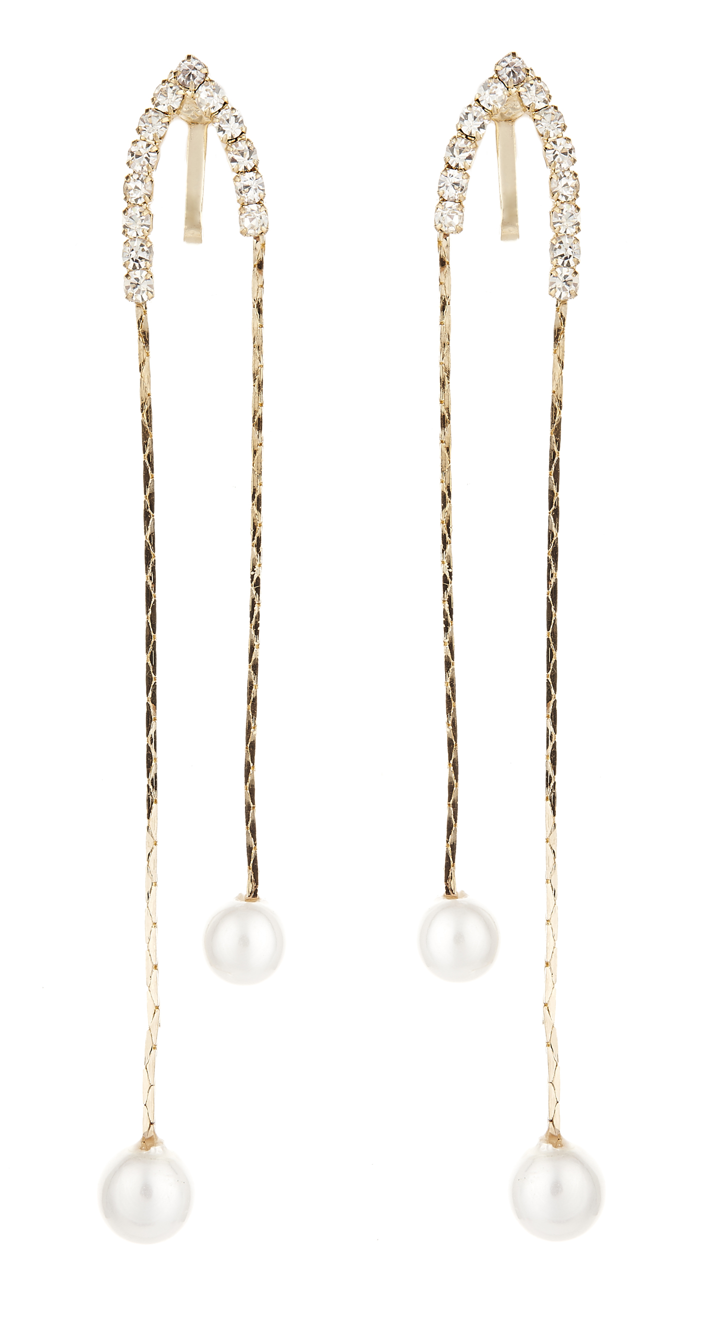 Clip On Earrings - Ceri - gold earring with clear crystals and pearls