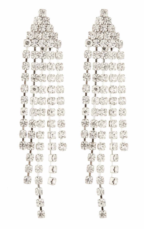 Clip On Earrings - Cherie - silver earring with diamante strands
