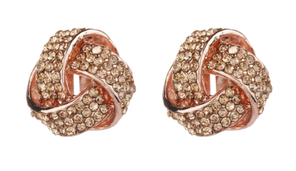 Clip On Earrings - Honey RG - rose gold knot stud earring with rhinestone crystals