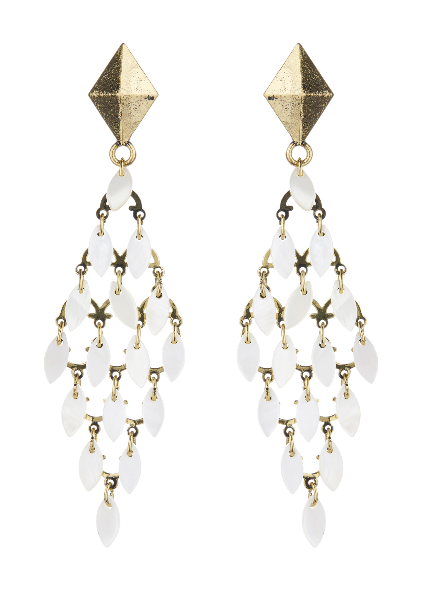 Clip On Earrings - Benita - antique gold chandelier earring with white shell