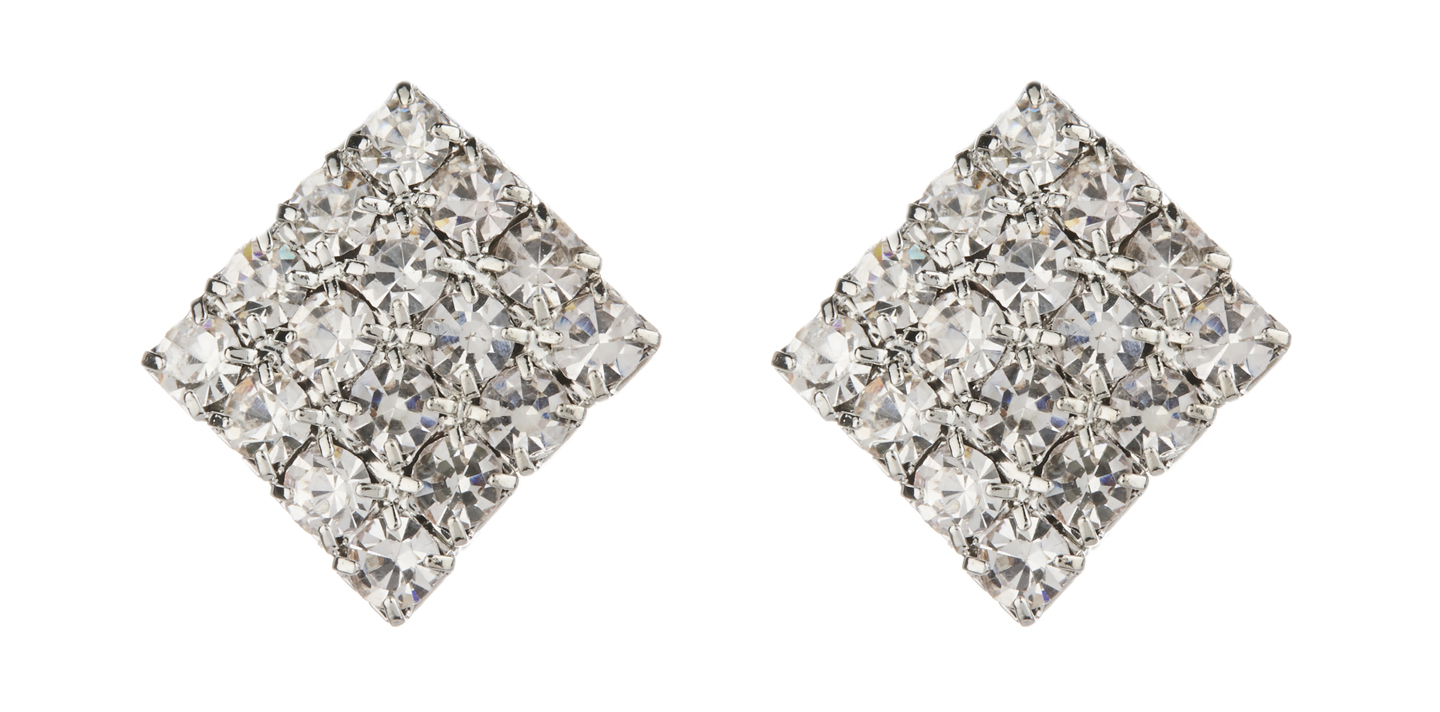 Clip On Earrings - Beryl - silver stud earring with clear crystals