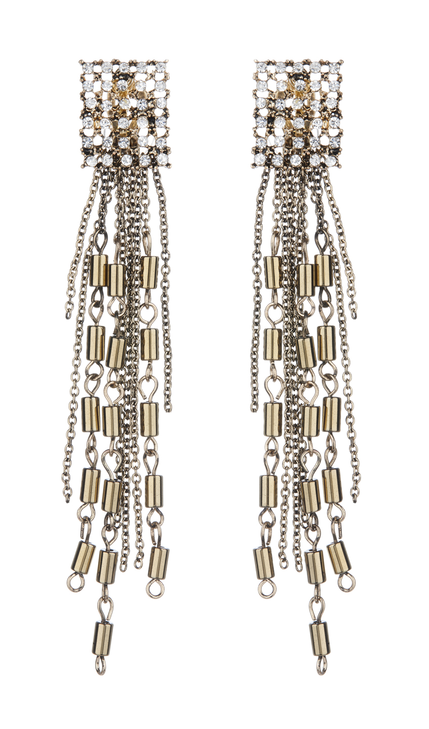 Clip On Earrings - Bettina - antique gold earring with crystals and a chain fringe