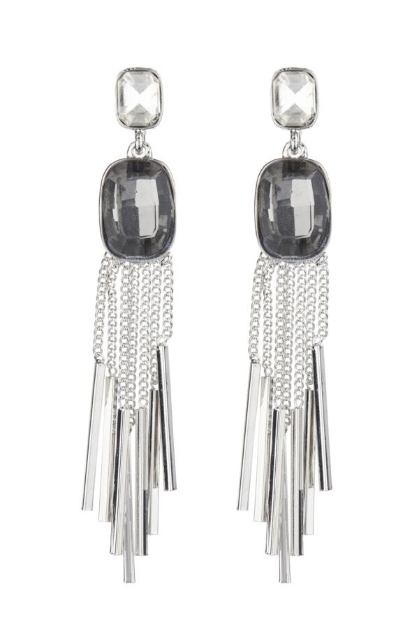 Clip On Earrings - Blaze - silver drop earring with a black stone