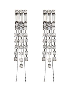 Clip On Earrings - Bobbi - gunmetal grey earring with clear stones and crystal strands