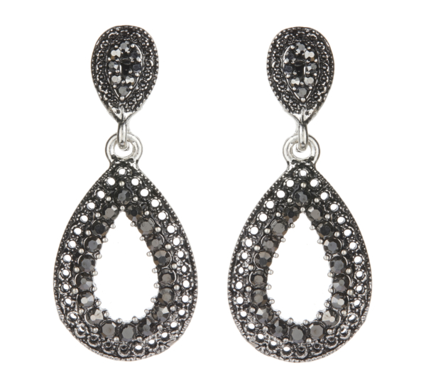 Clip On earrings - Brenda - antique silver drop earring with crystals