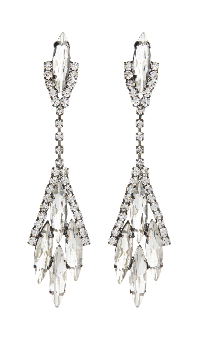 Clip On Earrings - Briana - gunmetal grey drop earring with clear stones and crystals