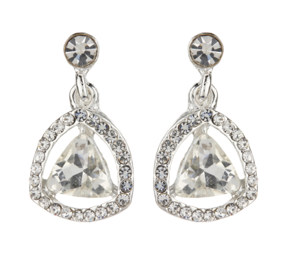 Clip On Earrings - Breeze - silver earring with an inset stone and crystals