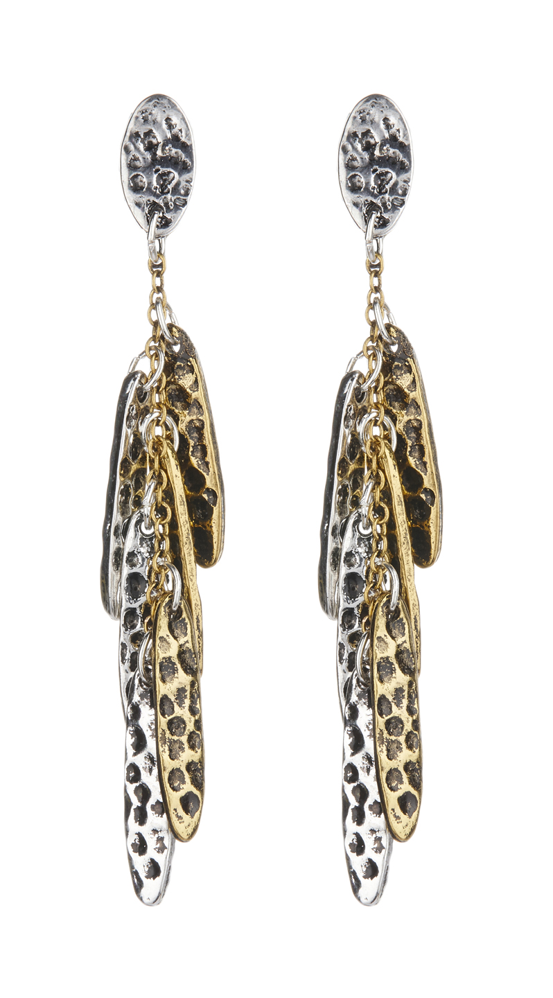 Clip On Earrings - Bronte - gold and silver leaf drop earring