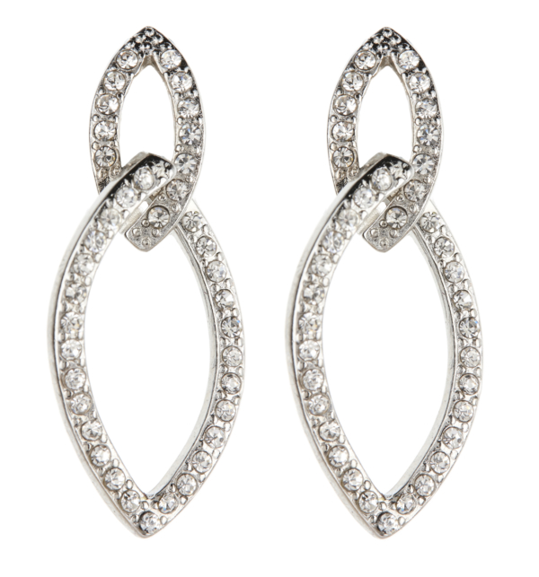 Clip On earrings - Cade - silver earring with clear crystals