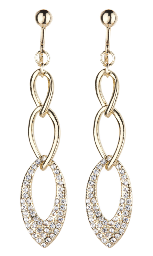 Clip On Earrings - Catlin G - gold drop earring with clear crystals