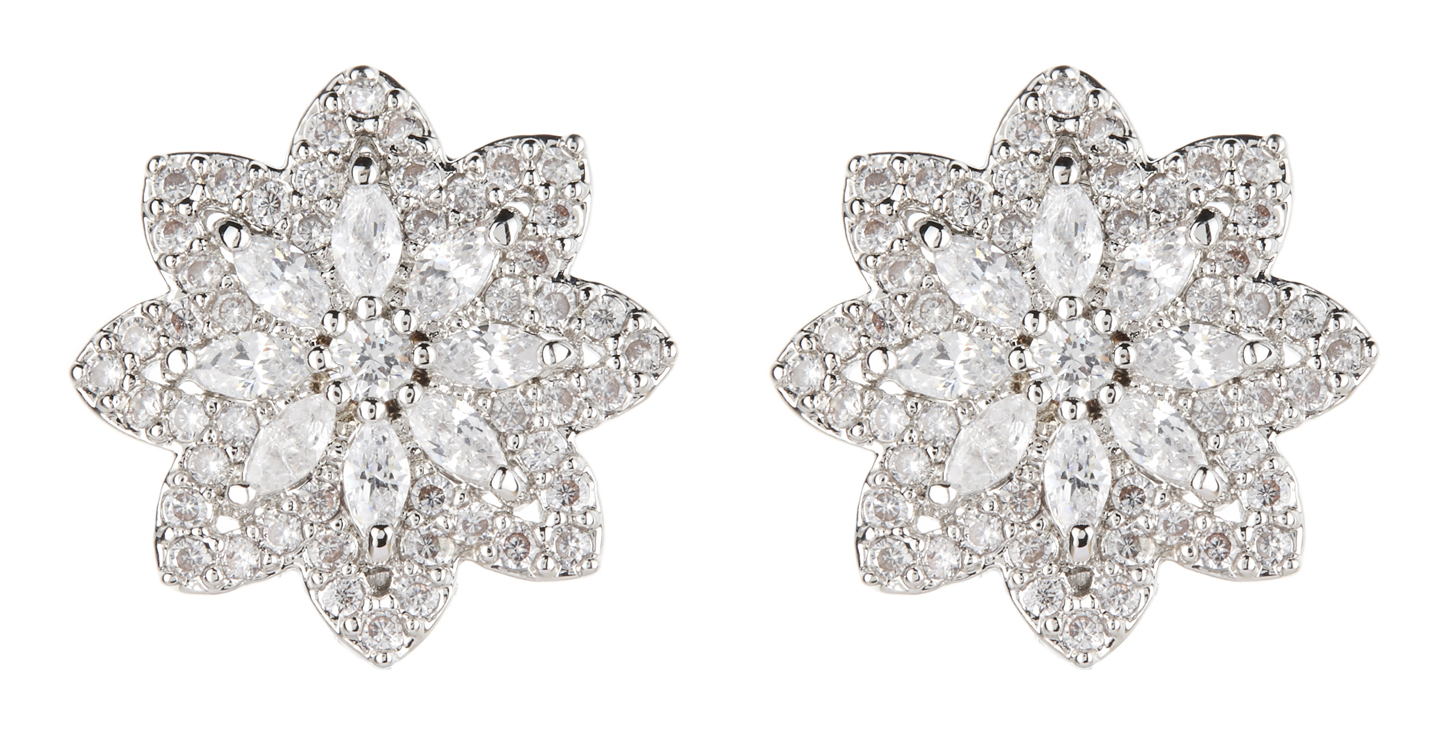 Clip On Earrings - Celina - silver star earring with clear crystals