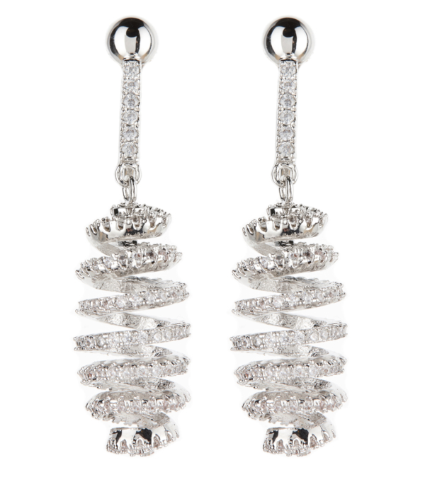 Clip On Earrings - Cindy - silver spiral luxury earring with clear crystals