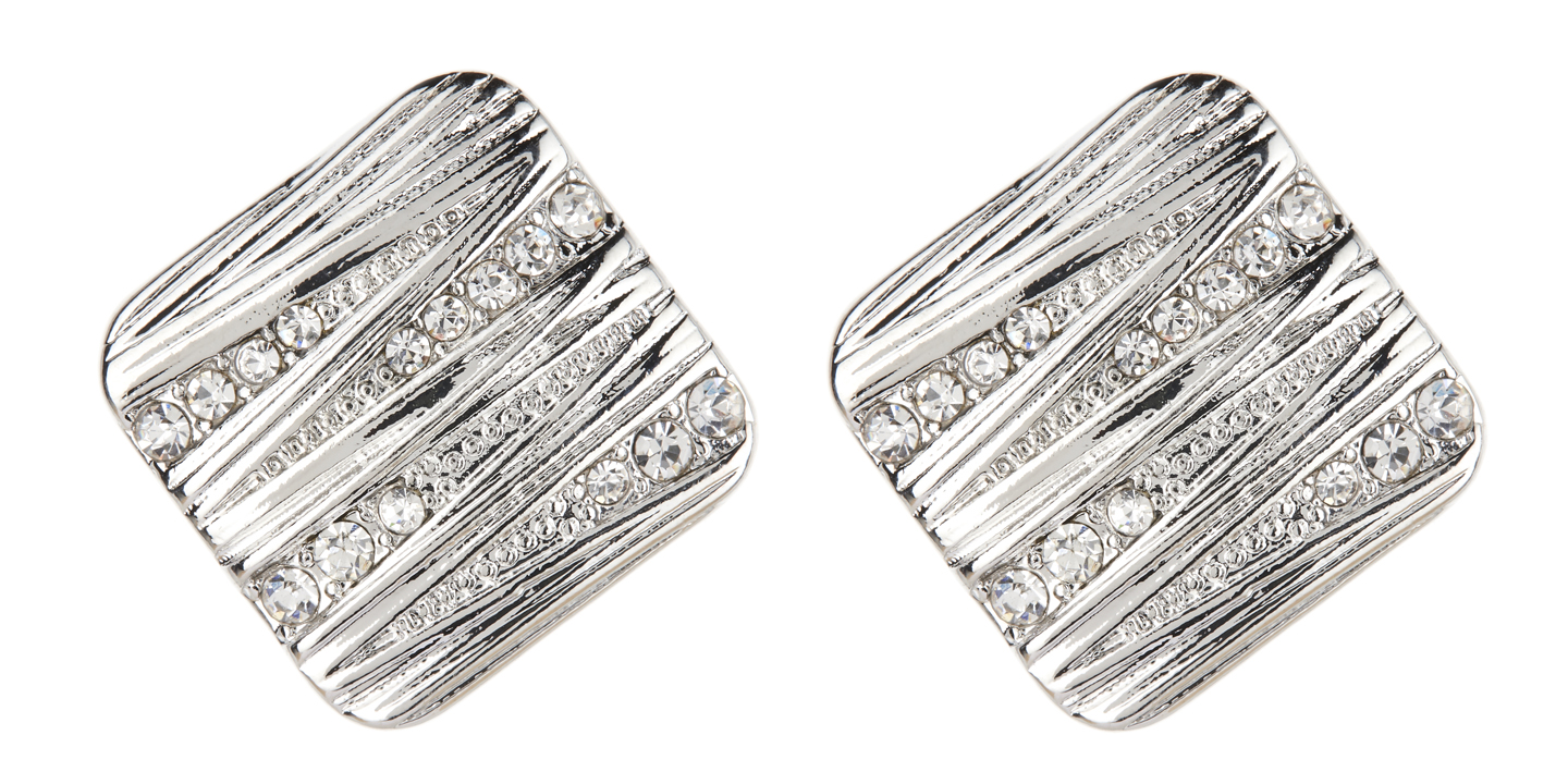 Clip On Earrings - Clara - silver luxury earring with clear crystals
