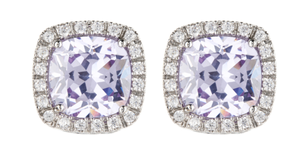 Clip On Earrings - Coco - silver luxury earring with a violet stone and clear crystals