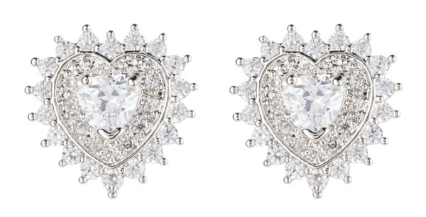Clip On Earrings - Coleen - silver heart earring with clear crystals