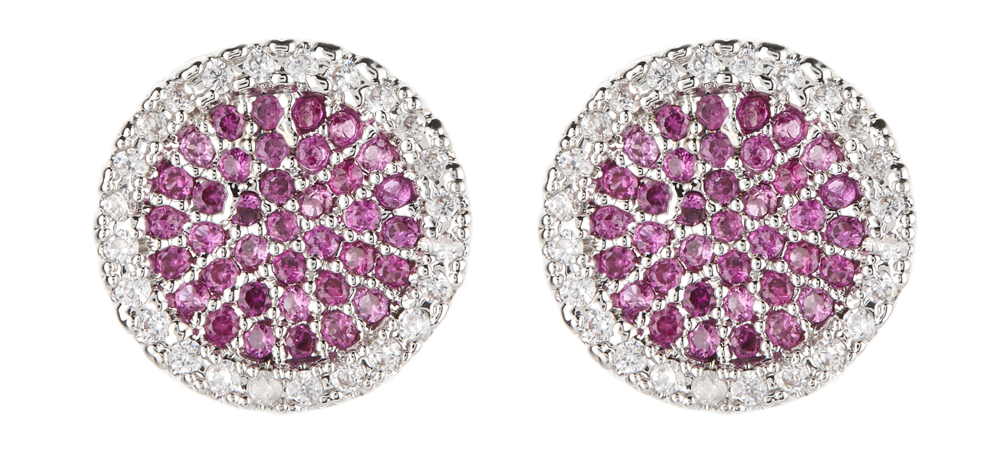 Clip On Earrings - Corina - silver stud earring with pink and clear crystals