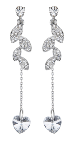 Clip On Earrings - Bliss C - silver crystal leaf earring with a clear heart