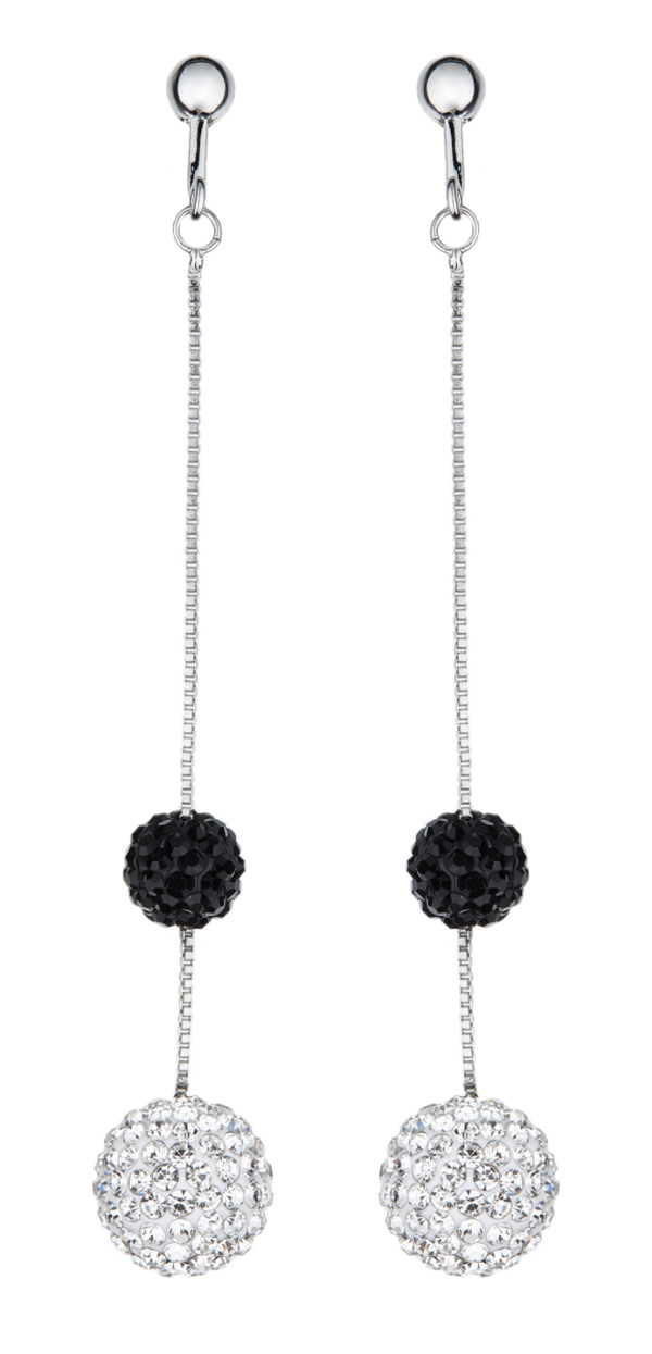 Clip On Earrings - Catrina - silver drop earring with black and clear crystals