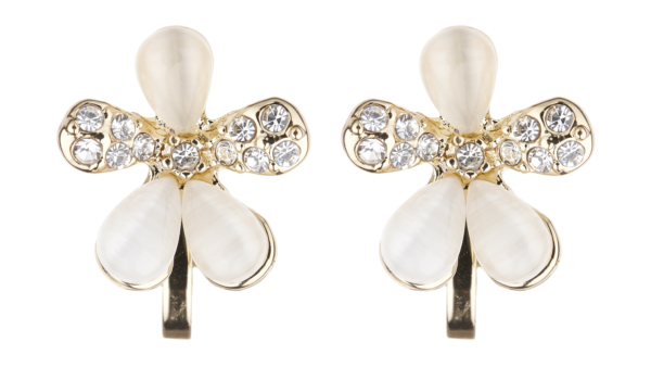 Clip On Earrings - Colette - gold flower earring with clear crystals and stones