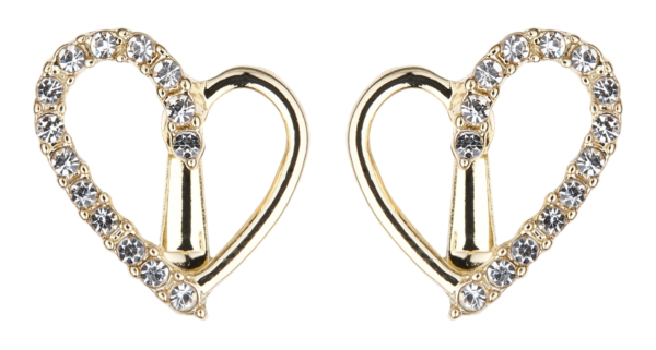 Clip On Earrings - Cora G - gold heart earring with clear crystals