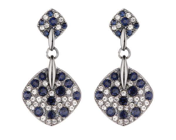 Clip On Earrings - Bibi - gunmetal grey drop earring with blue and clear crystals
