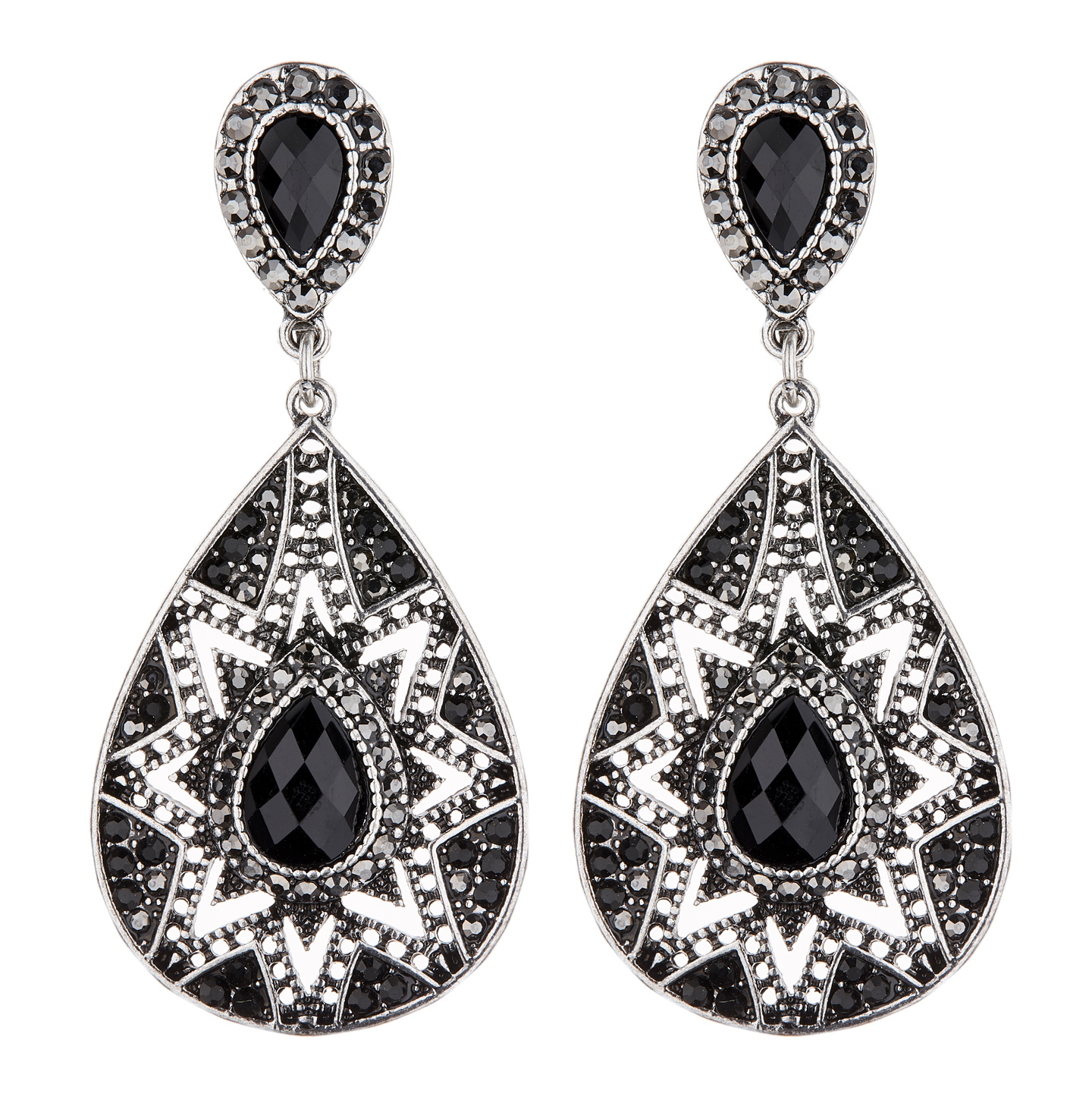 Clip On Earrings - Bisa - antique silver earring with black crystals