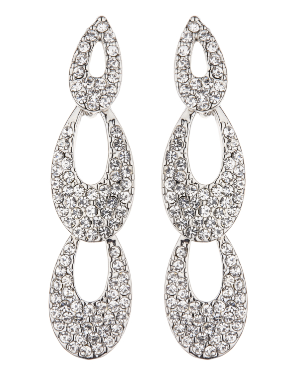 Clip On Earrings - Blake S - silver drop earring with clear crystals