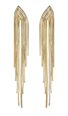 Clip On Earrings - Bracha G - gold earring with strands
