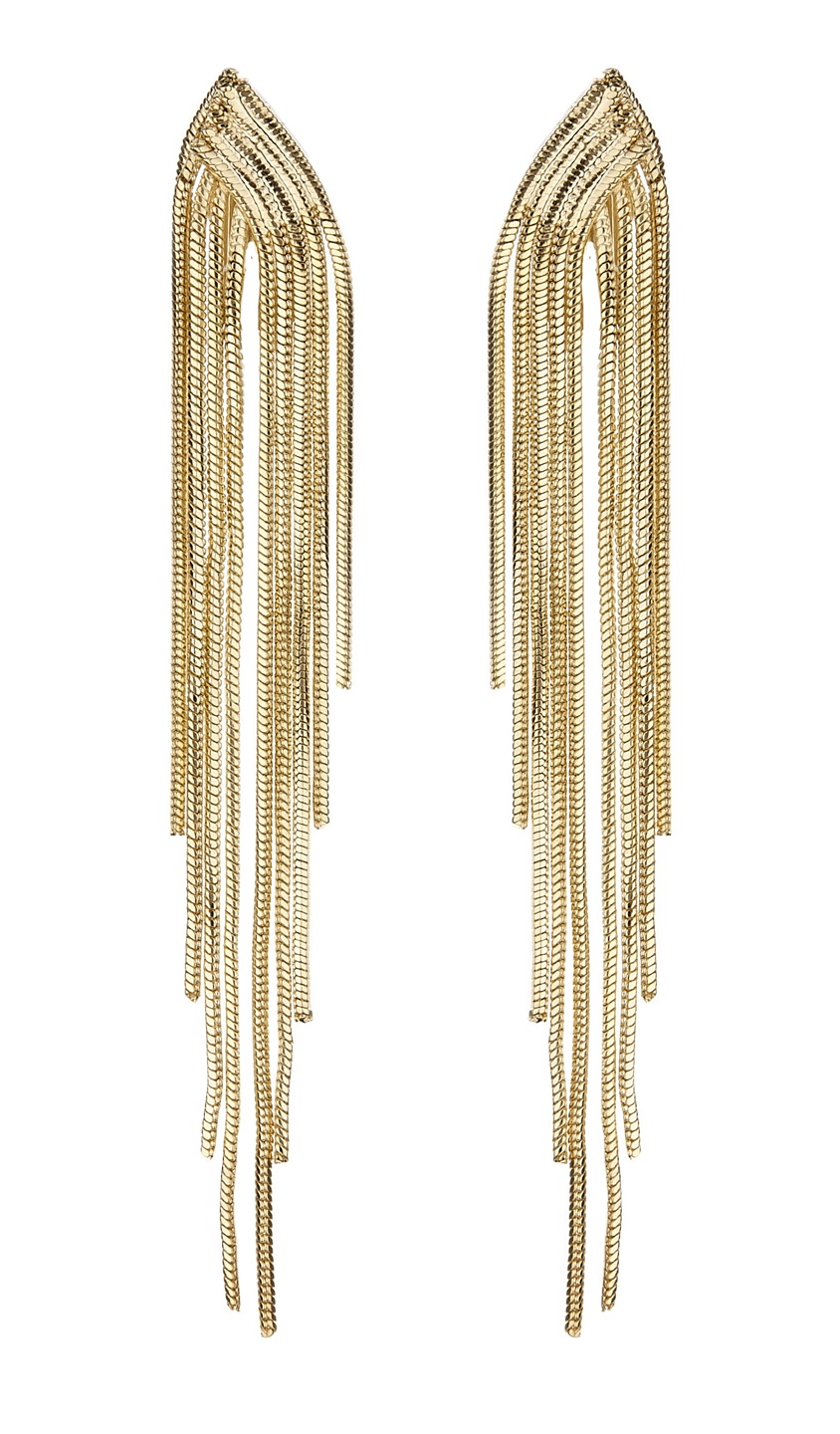 Clip On Earrings - Bracha G - gold earring with strands