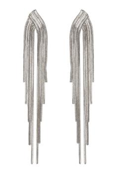 Clip On Earrings - Bracha S - silver earring with strands