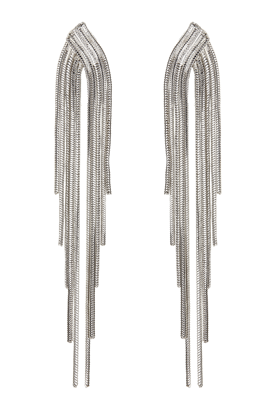 Clip On Earrings - Bracha S - silver earring with strands