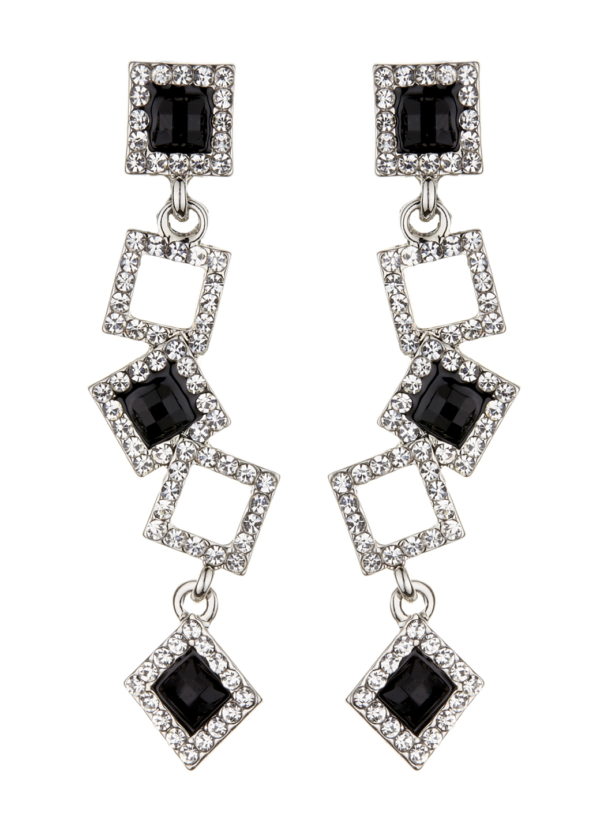 Clip On Earrings - Braith - silver earring with clear crystal squares and black stones