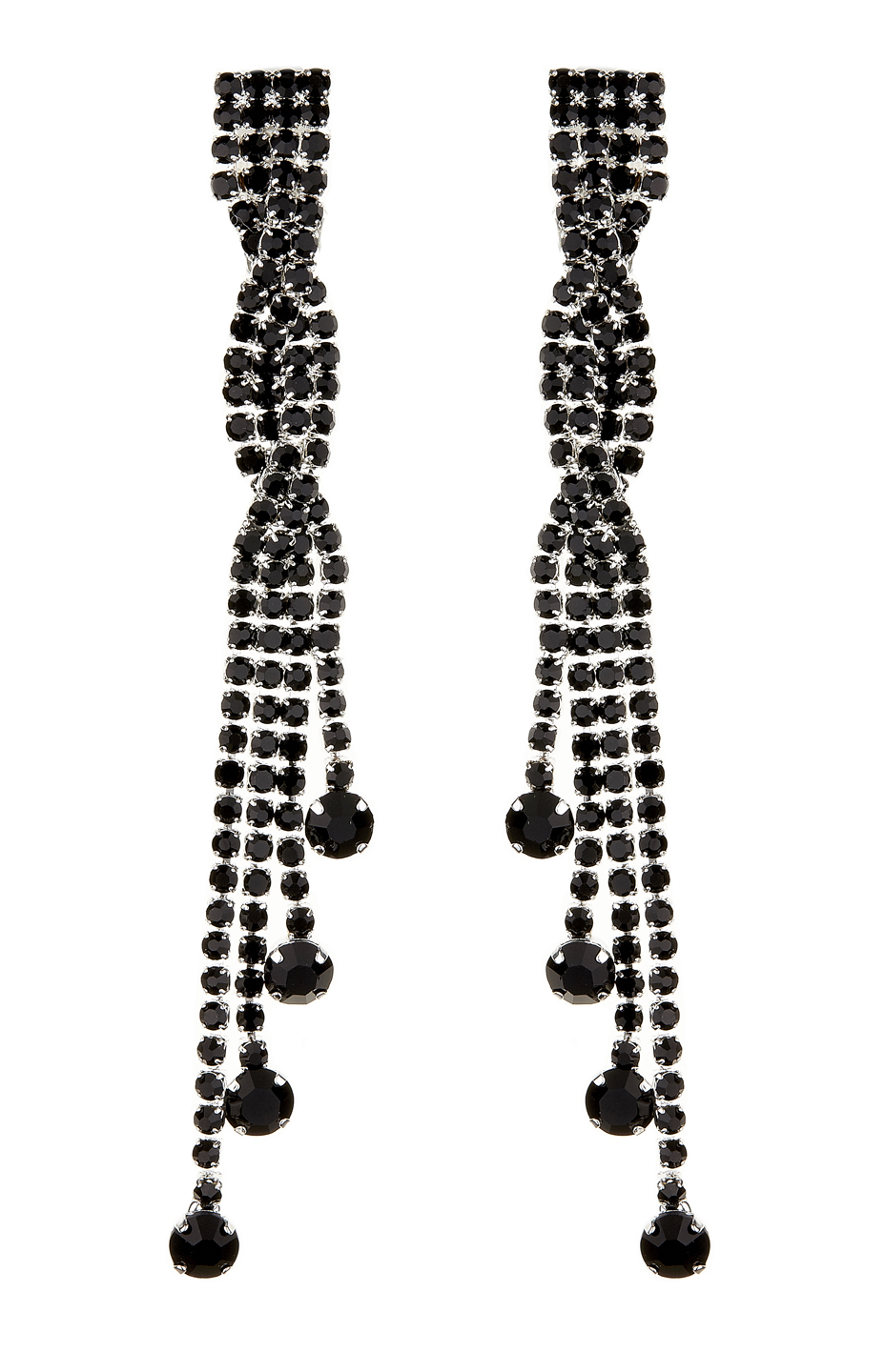 Clip On Earrings - Cabot B - silver drop earring with black crystals and stones